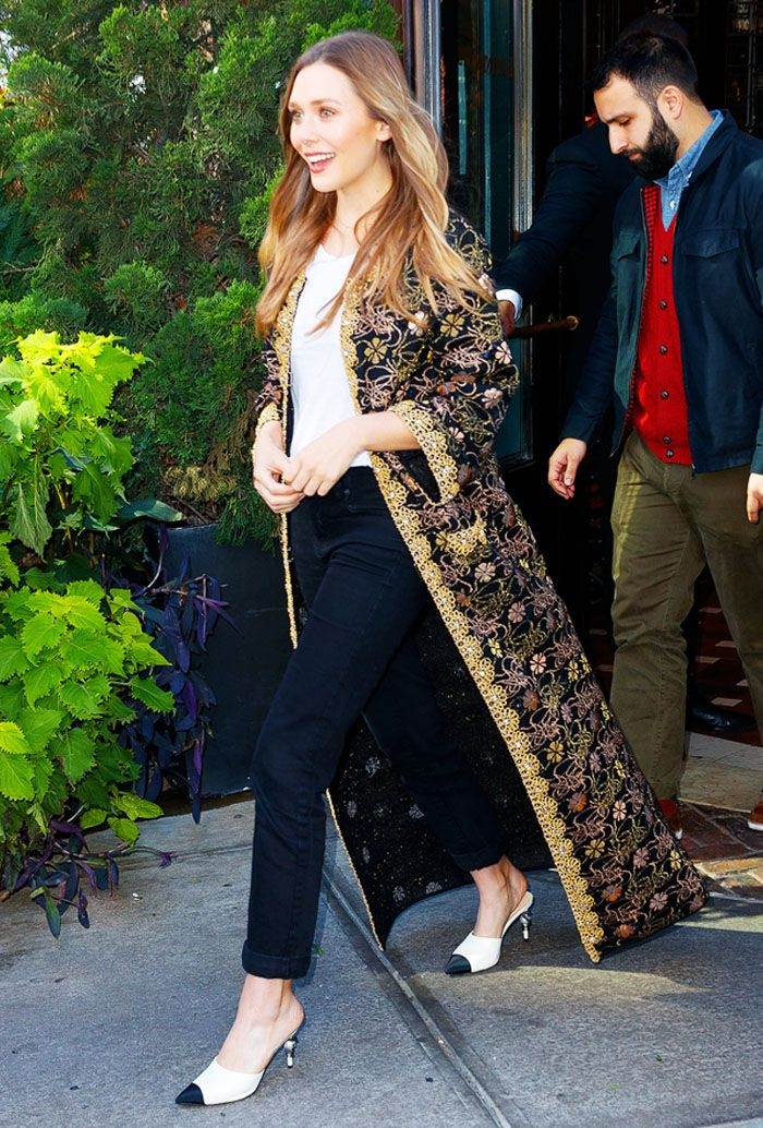 Elizabeth Olsen jeans and T-Shirt and Chanel embroidered jacket