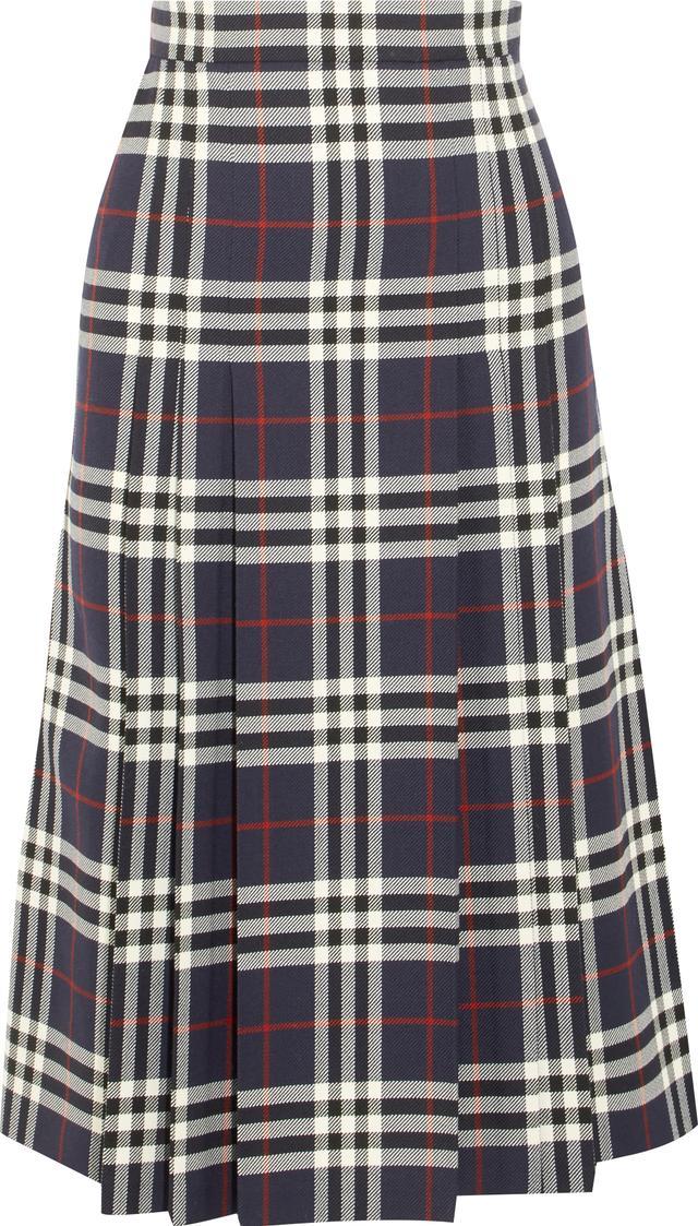 Burberry Pleated Checked Wool Midi Skirt