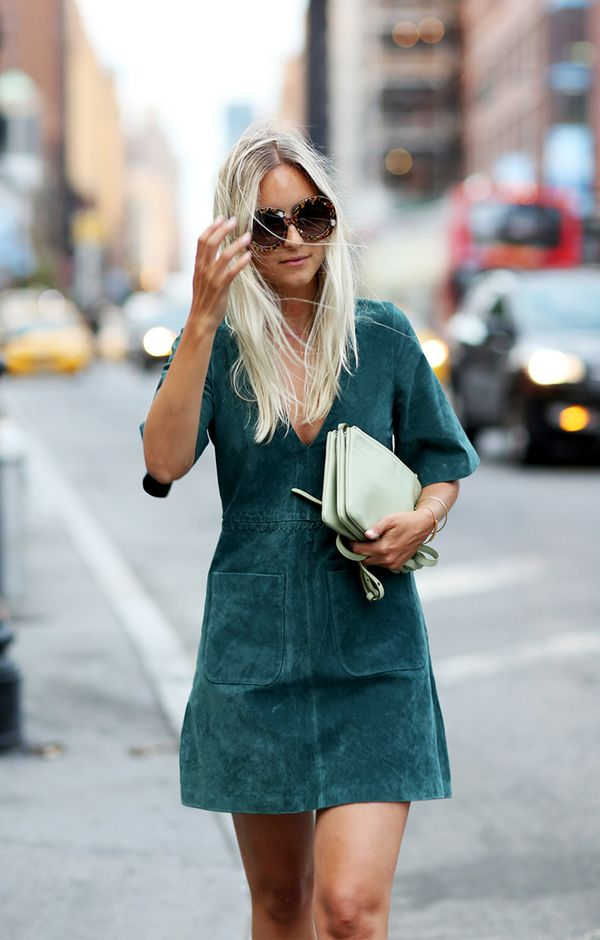 street style fall suede dress