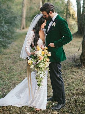 You Have to See This Country Star's Plunging Lace Wedding Dress