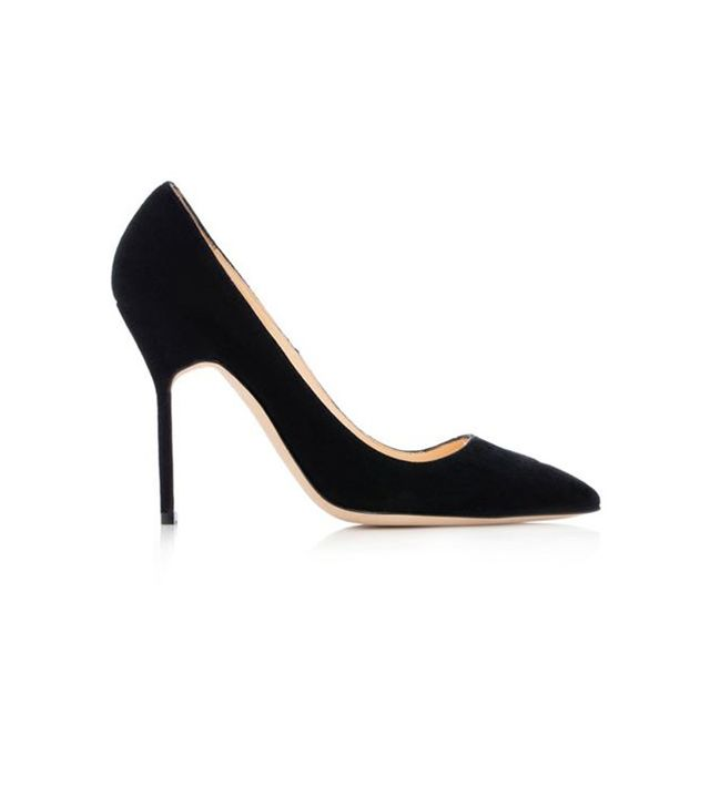 Manolo Blahnik Black Suede Pointy Pumps