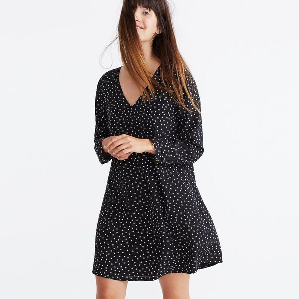 Silk Button-Back Dress in Star Scatter