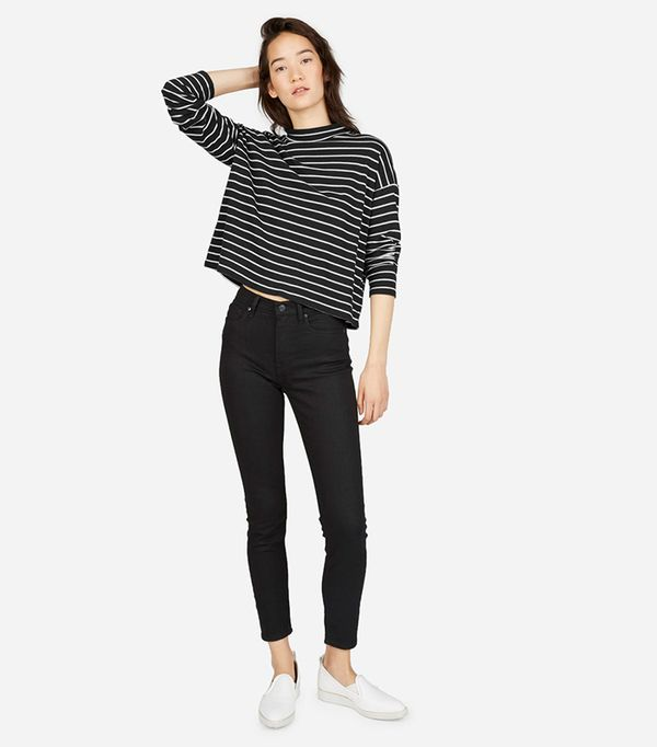 Women's Square Mockneck Tee Sweater by Everlane in Washed Black / Bone Mid Stripe, Size XS