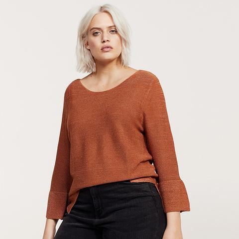 Ruffled Metallic Sweater