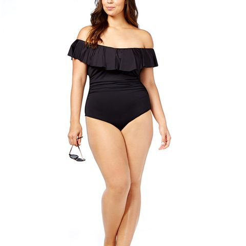 Off-the-Shoulder One-Piece Swimsuit