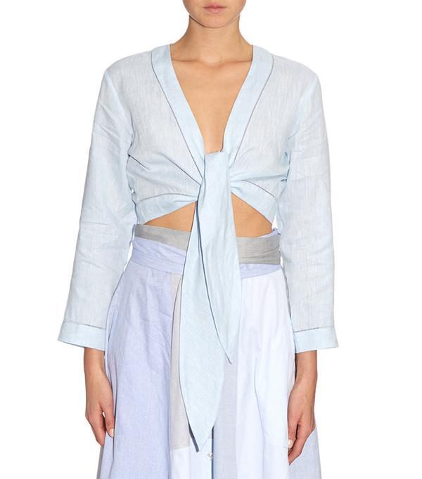 Tie-front linen top