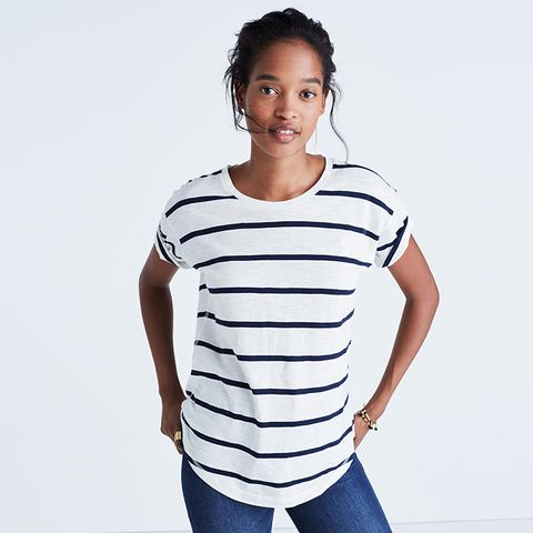Whisper Cotton Crewneck Tee in Creston Stripe