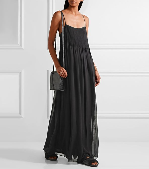 Pintucked Silk-chiffon Maxi Dress