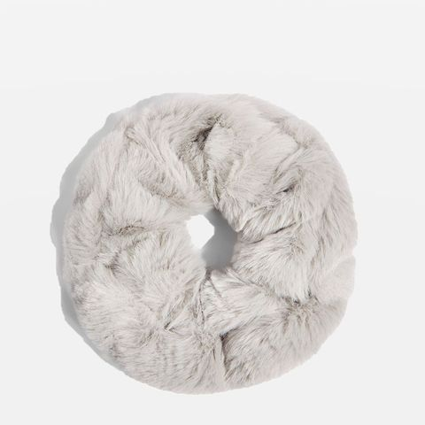 Grey Mini Faux-Fur Scrunchie