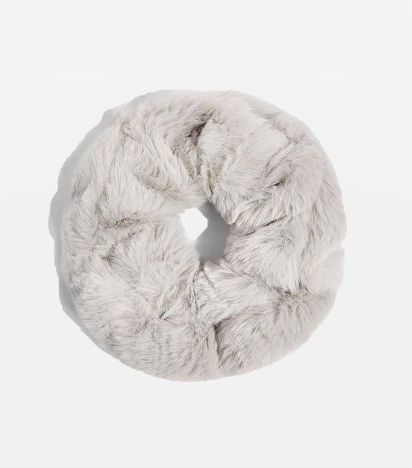 Grey Mini Faux Fur Scrunchie