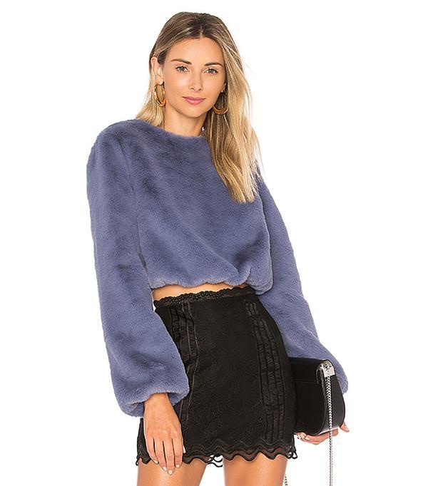 x REVOLVE Teagan Faux Fur Sweater in Blue. - size XXS (also in XS,S,M,L,XL)