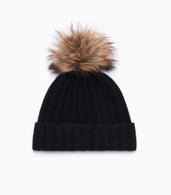 Knit Hat with Fox Fur Pom Pom