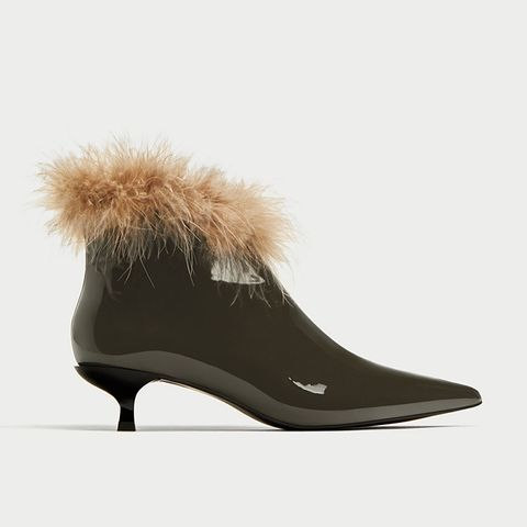 High-Heel Ankle Boots With Feathers