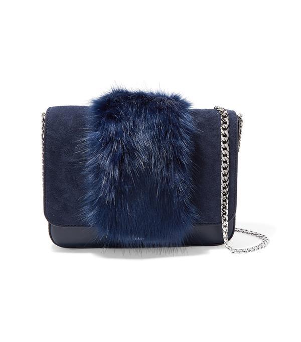 Lock Faux Fur-trimmed Leather And Suede Shoulder Bag