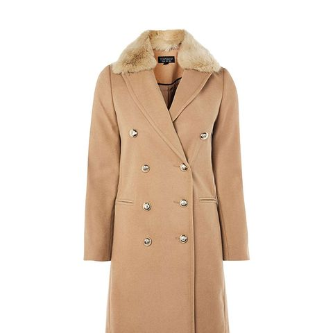 Nina Faux-Fur Collar Double-Breasted Coat