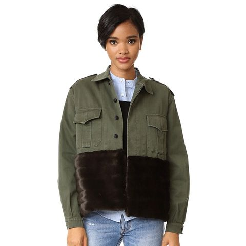 Military Jacket with Faux Fur Trim