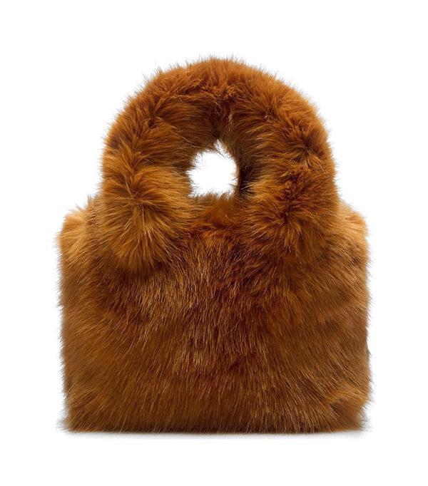 Teddy Faux Fur Shoulder Bag - Black