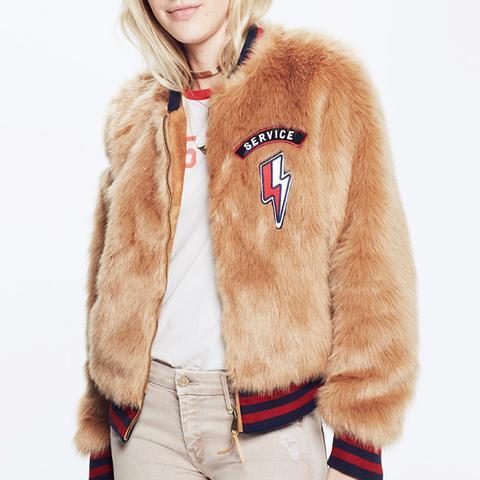 Letterman Patch Fur Jacket