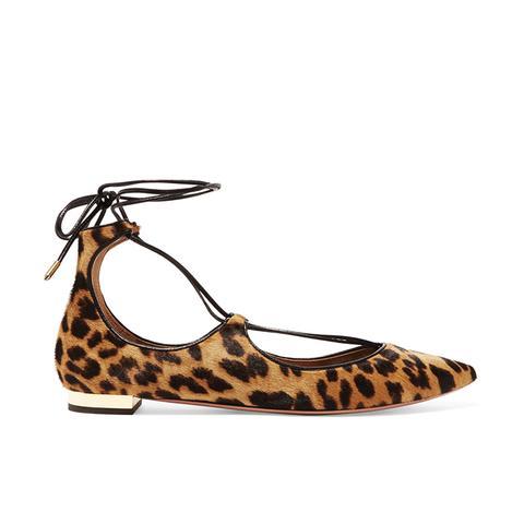 Christy Leopard-Print Calf Hair Point-Toe Flats