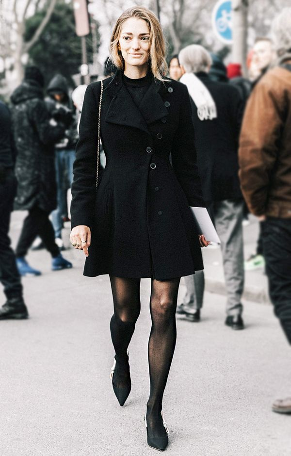 Go for a classic, elegant look this holiday season by wearing a shape-hugging coat with tights and pointed heels.