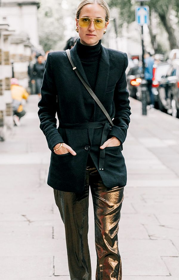 7. Black Blazer + Metallic Pants