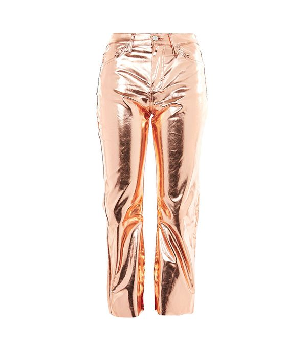 MOTO Copper Metallic Cropped Kick Flare Jeans