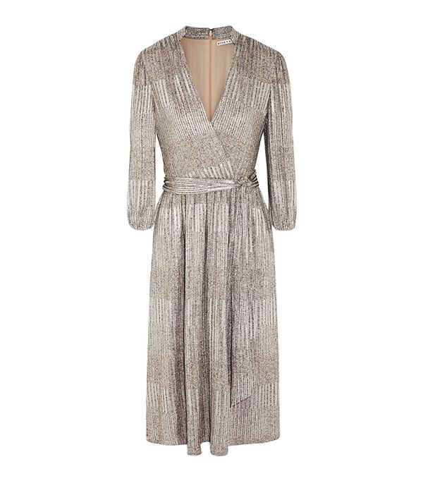 Katina Metallic Ribbed-knit Dress