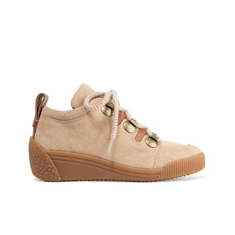 Leather-Trimmed Nubuck Wedge Sneakers