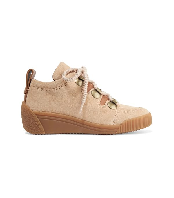 See by Chloé Leather-Trimmed Nubuck Wedge Sneakers