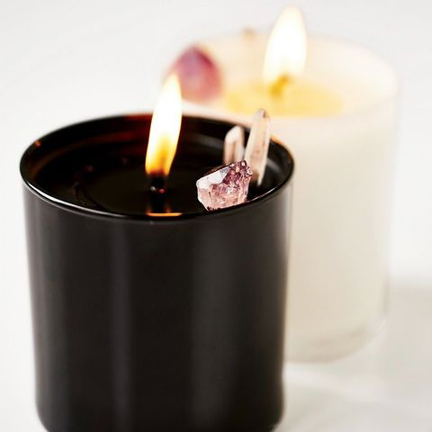 Smoke & Lavender Soy Quartz Crystal Candle