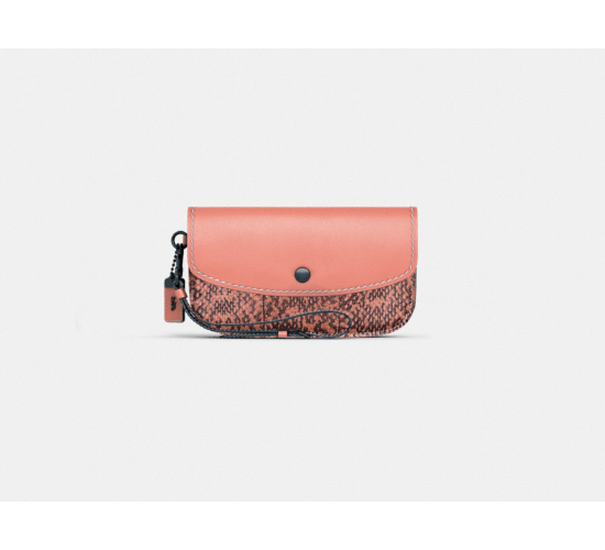 Coach Clutch in Glovetanned Leather With Colorblock Snake