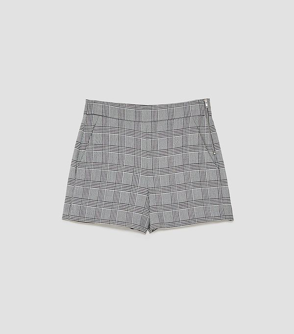 Zara High Waist Shorts With Side Zip