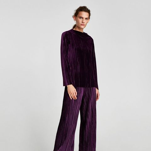 Pleated Velvet Trousers