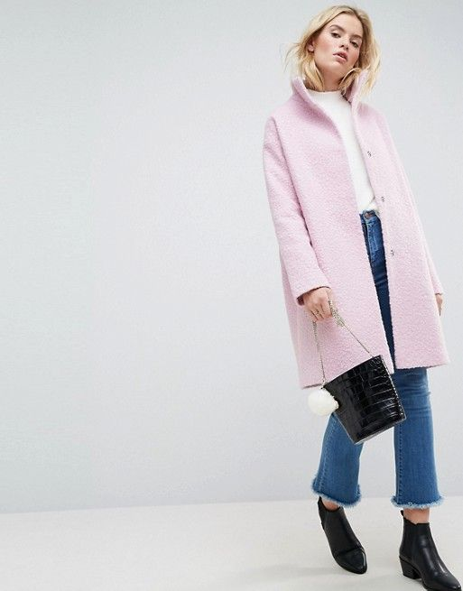 Oversized Coat in Wool Blend with Funnel Neck