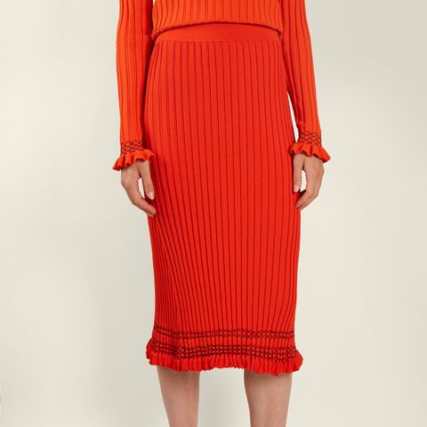 Gwendolyn Ribbed-Knit Midi-Skirt