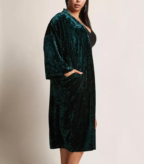 Plus Size Crushed Velvet Kimono