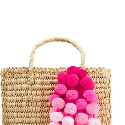 Maldives Baby Pompom-Embellished Woven Rafia Tote