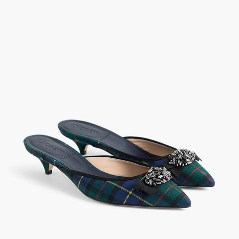 Plaid Kitten Mules