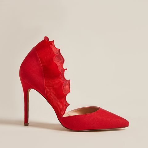 Pleated-Trim Pointed Pumps