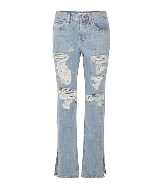 Embellished Distressed Boyfriend Jeans