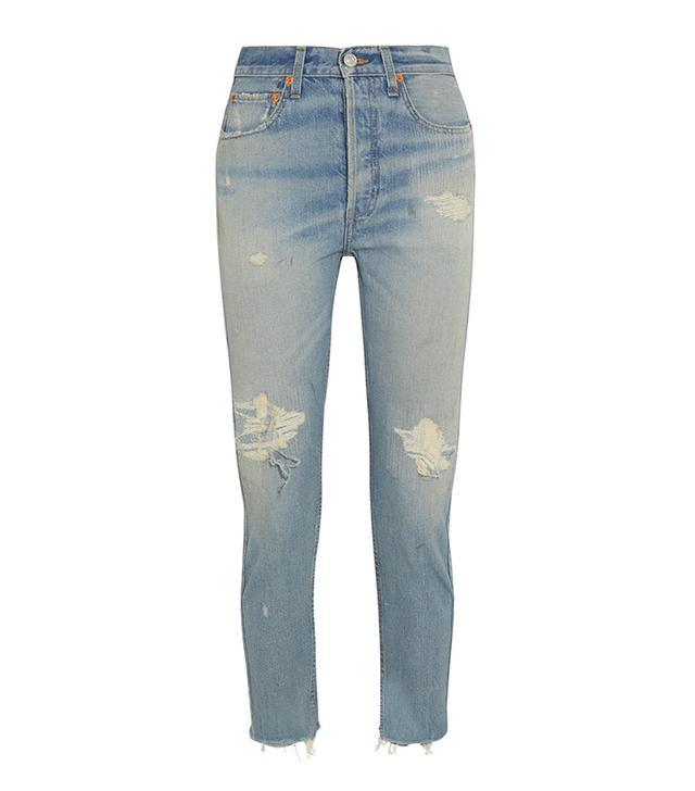 High-rise Ankle Crop Distressed Slim-leg Jeans