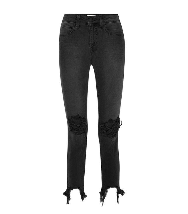 High Line Cropped Distressed Skinny Jeans