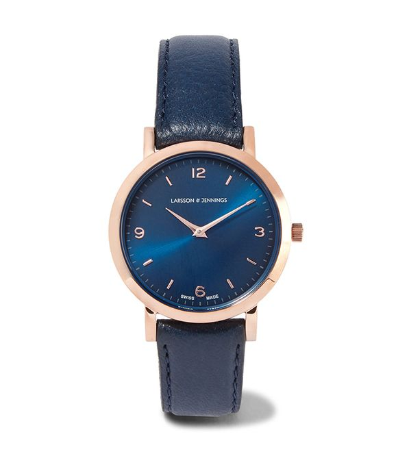 Lugano Leather And Rose Gold-plated Watch