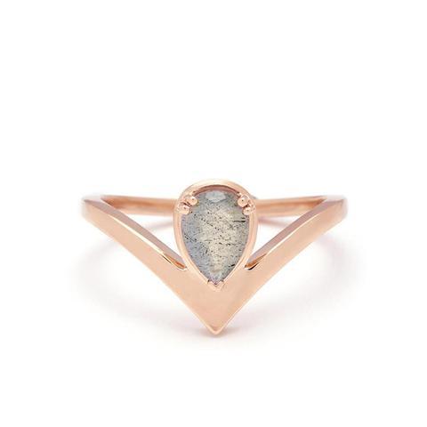 Celestine Orbit Ring Rose Gold & Labradorite