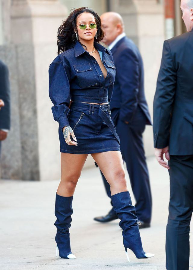 On Rihanna:Tom Ford S/S 18 top, skirt, and boots