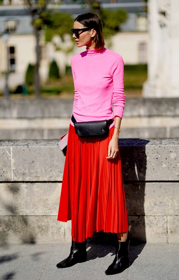 Don't shy away from mixing hot pink and bright red.