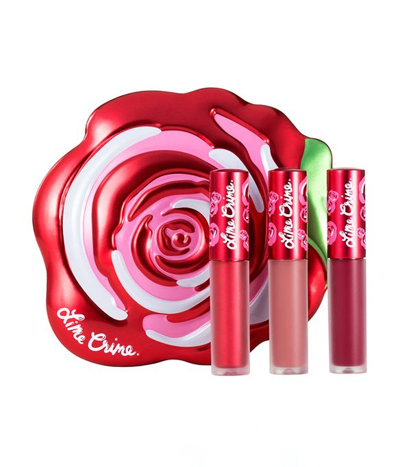 Lipstick gift sets: Lime Crime Velve-Tin Mini Velvetines Trio