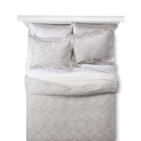 Gray Woven Duvet Cover Set