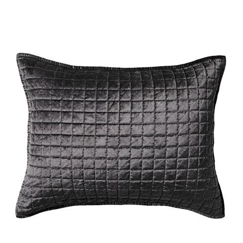 Gray Velvet Grid Stitch Sham