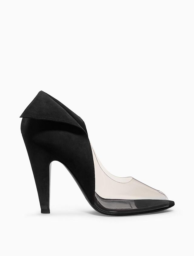 high-heeled deco peep-toe in suede + clear plastic